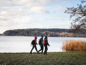 Three hikers by a lake