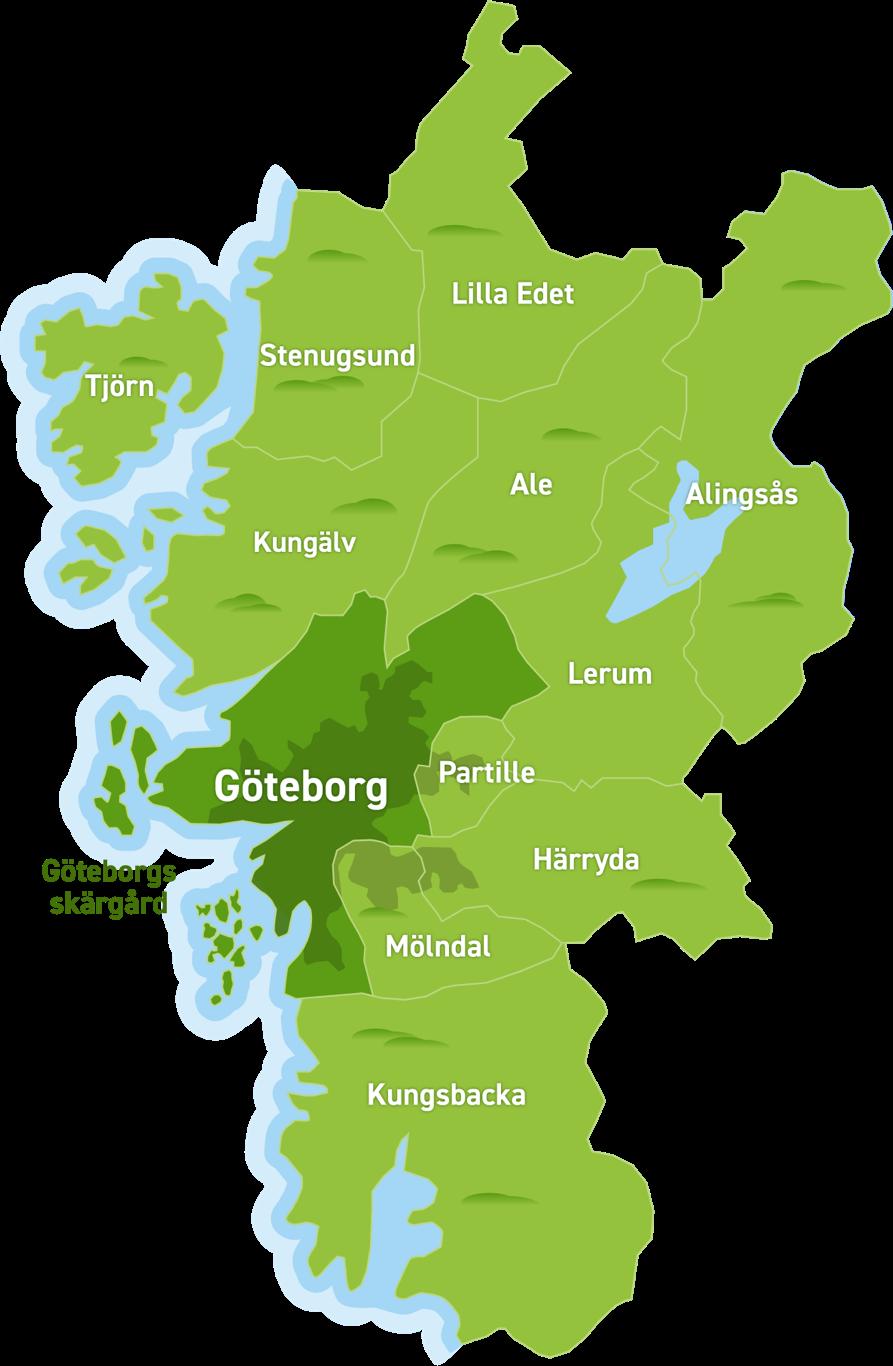 Karta över destinationen Göteborg
