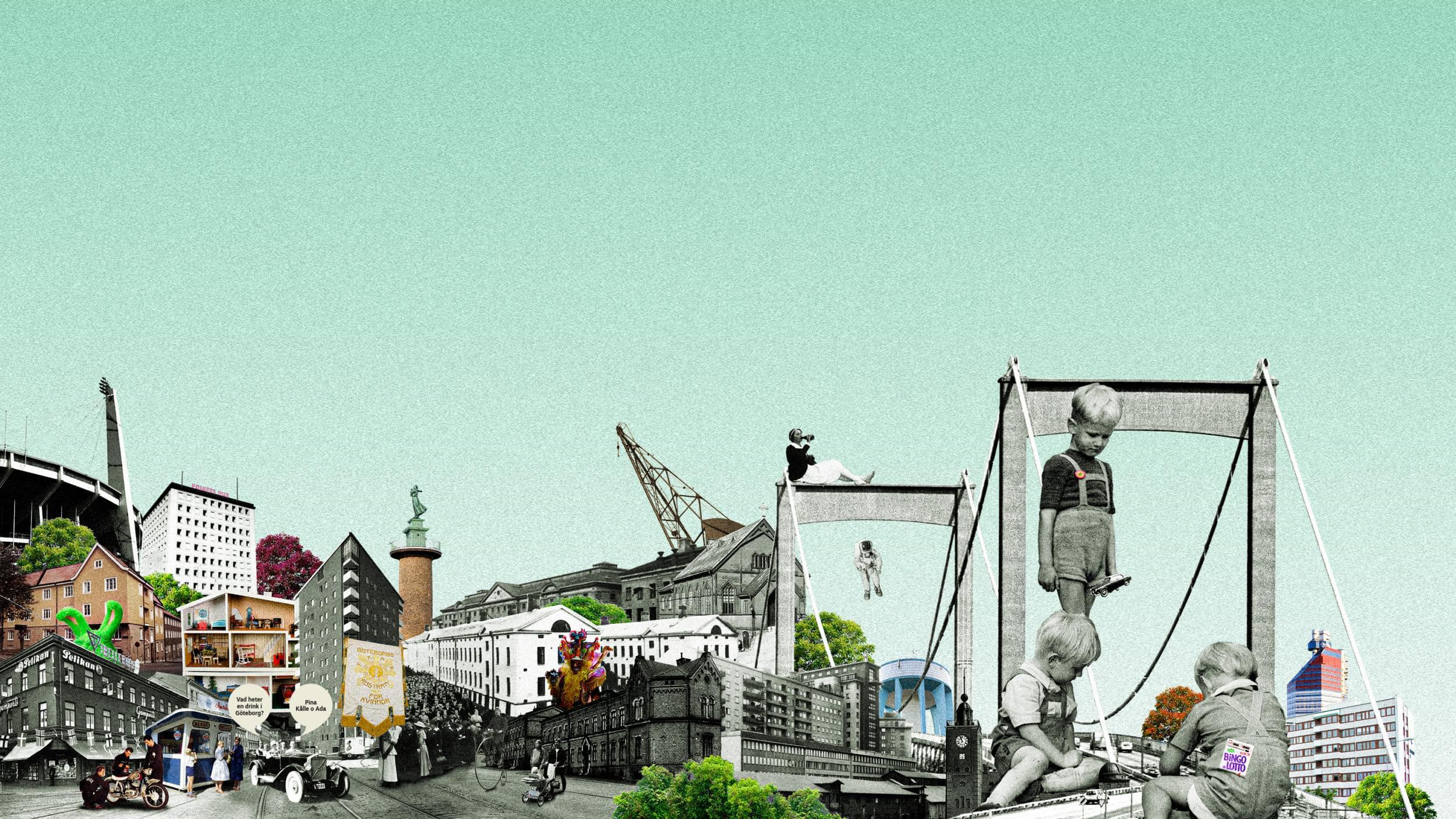 Ett collage av hus och göteborgsgrejer