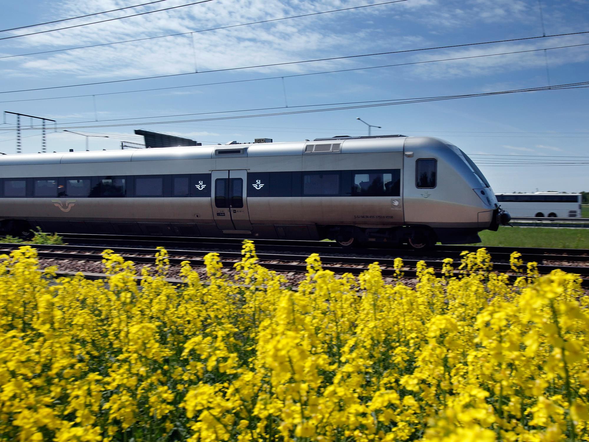 tåg kör genom landskap med rapsfält i förgrunden