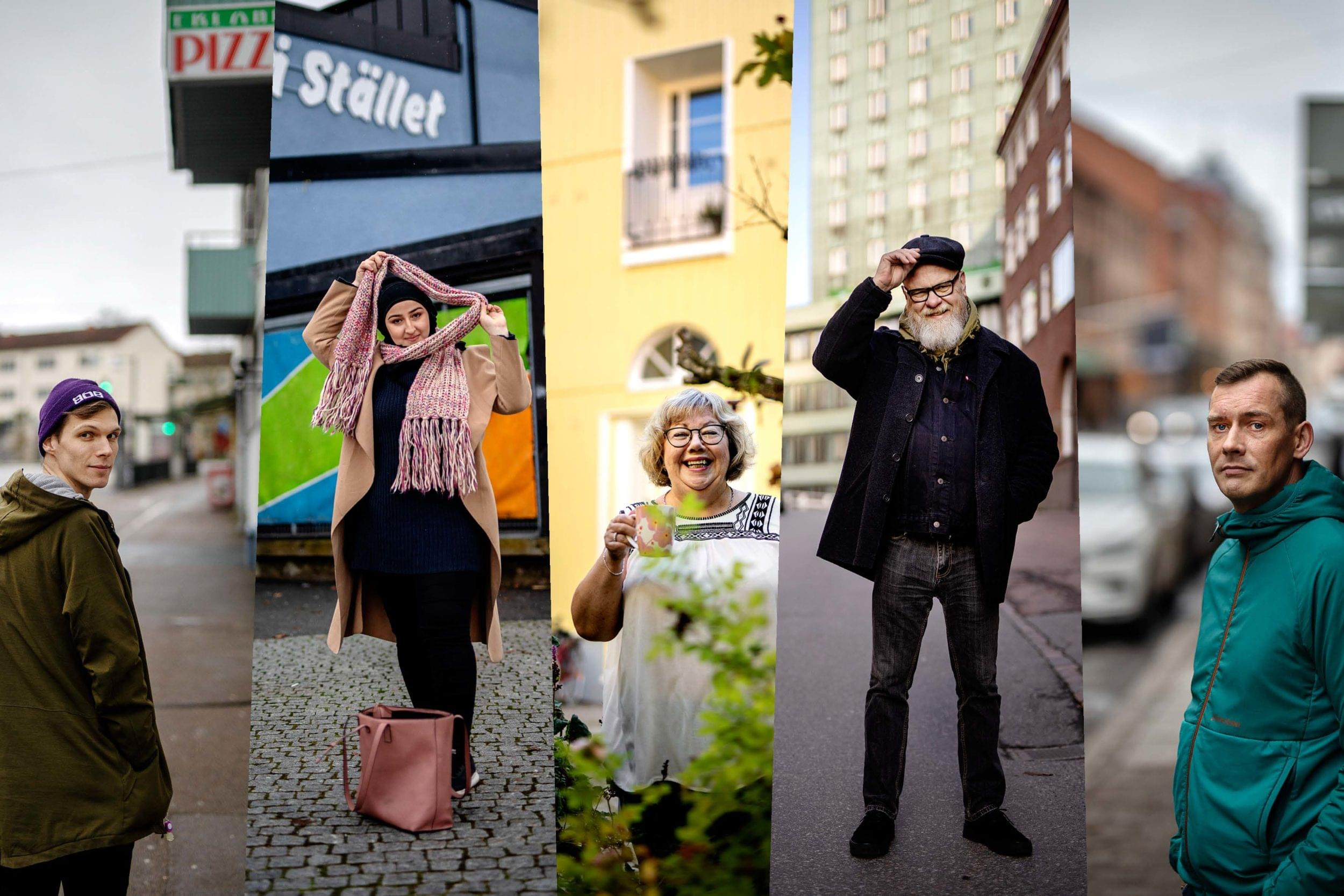 Fem personer från fem stadsdelar i staden