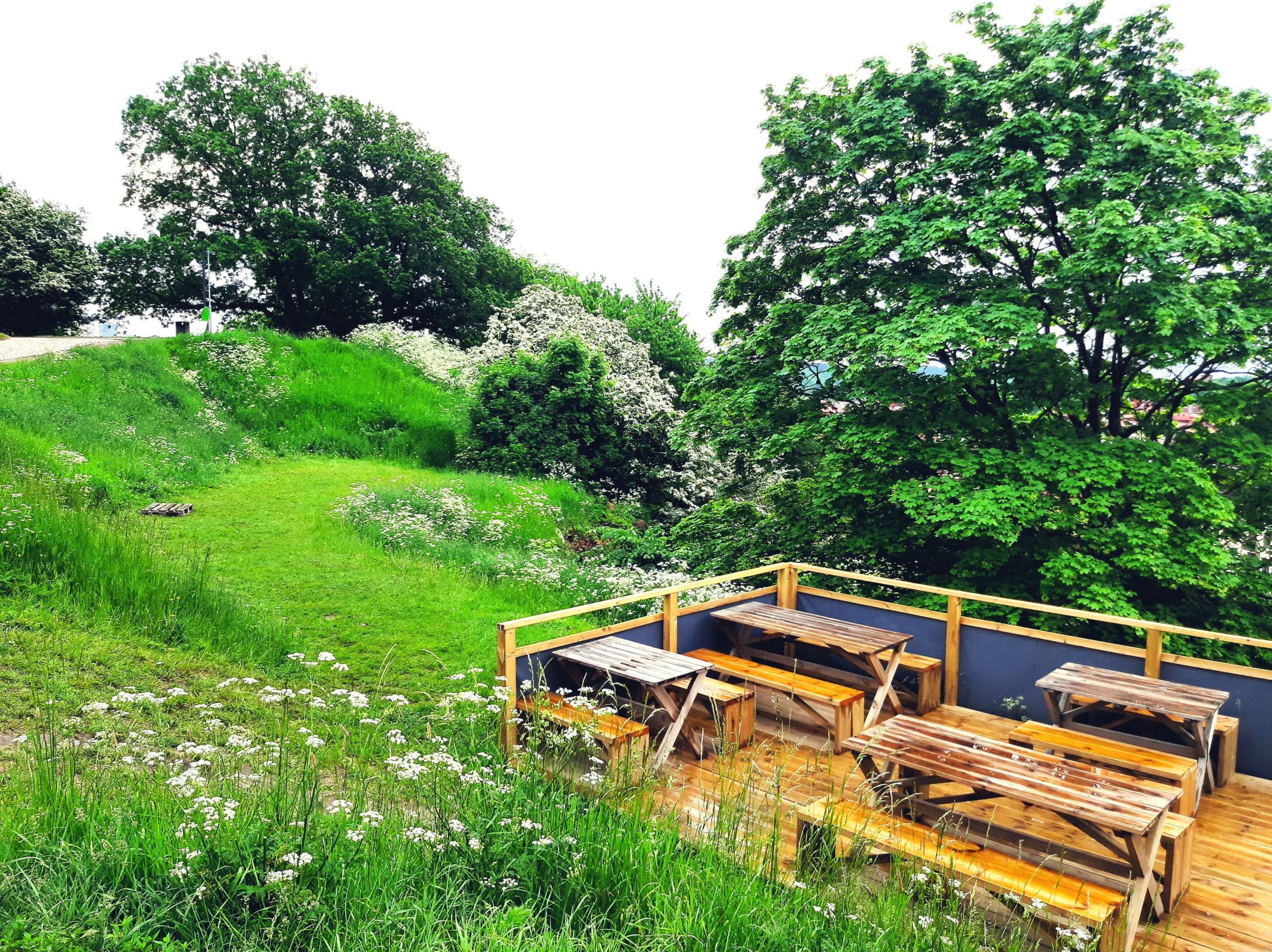Del av uteserveringen bland grönska och blommor.