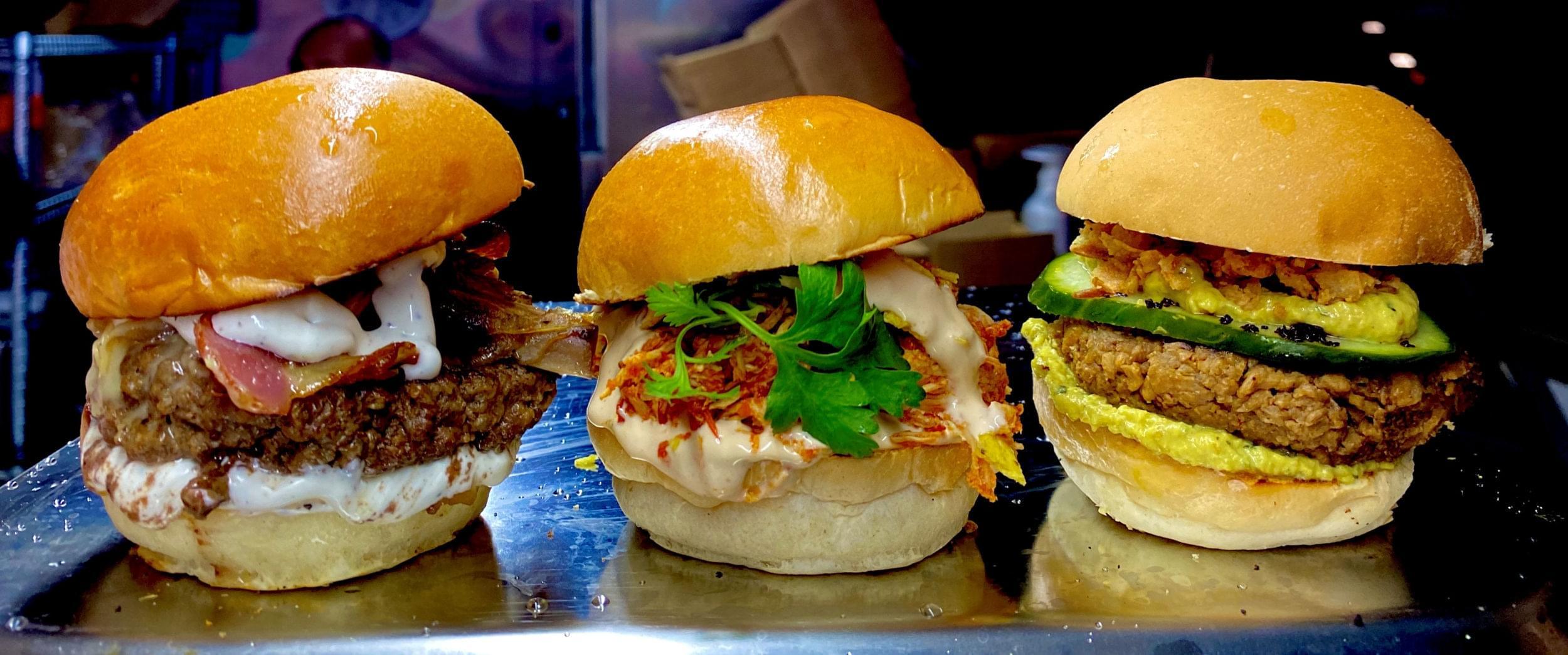 Three hamburgers