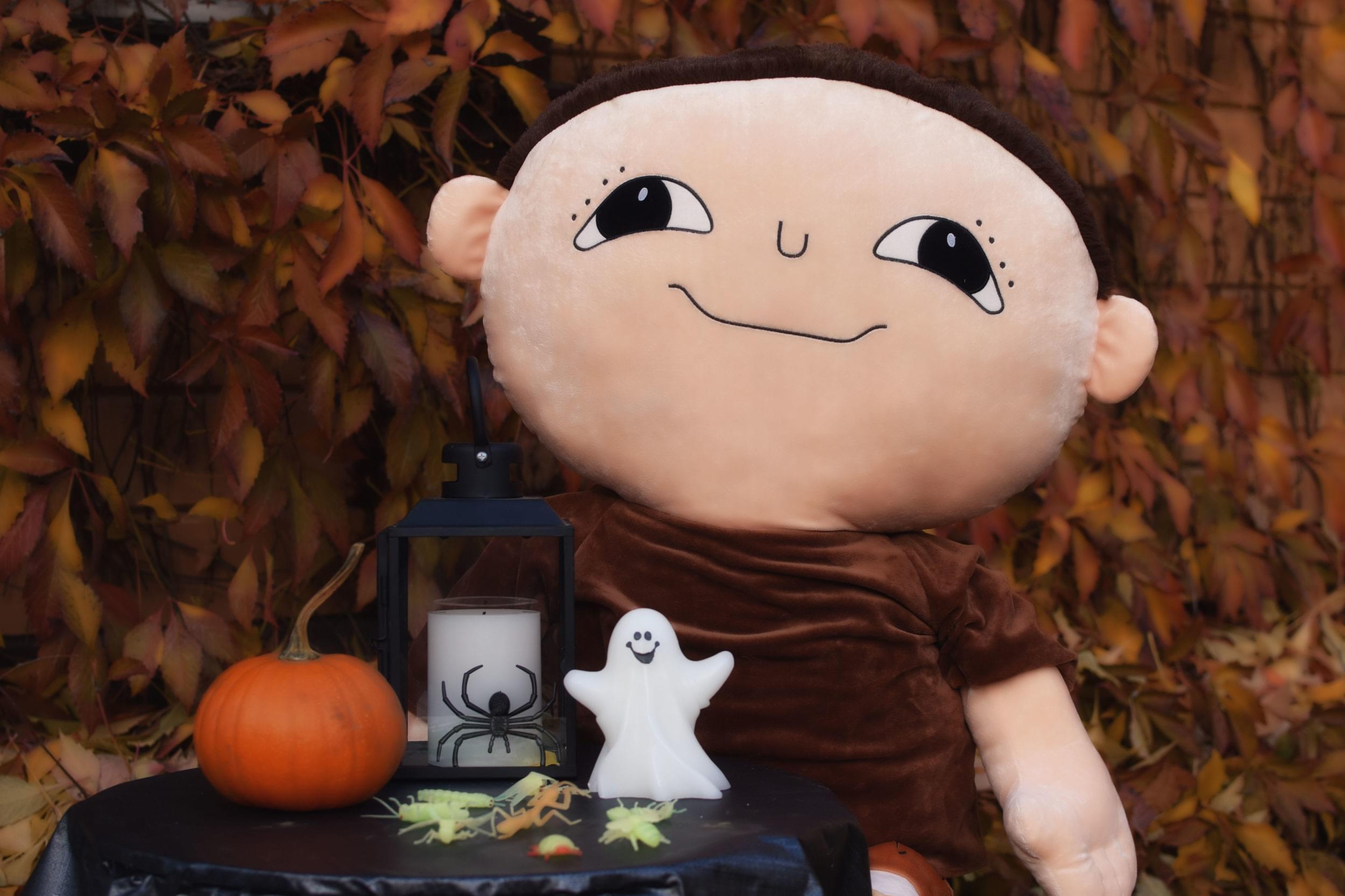 På ett svart bord finns en orange pumpa, ett ljus och ett litet spöke. Alfons Åberg sitter på en stol intill bordet. Bakom Alfons ser man massor av höstlöv.