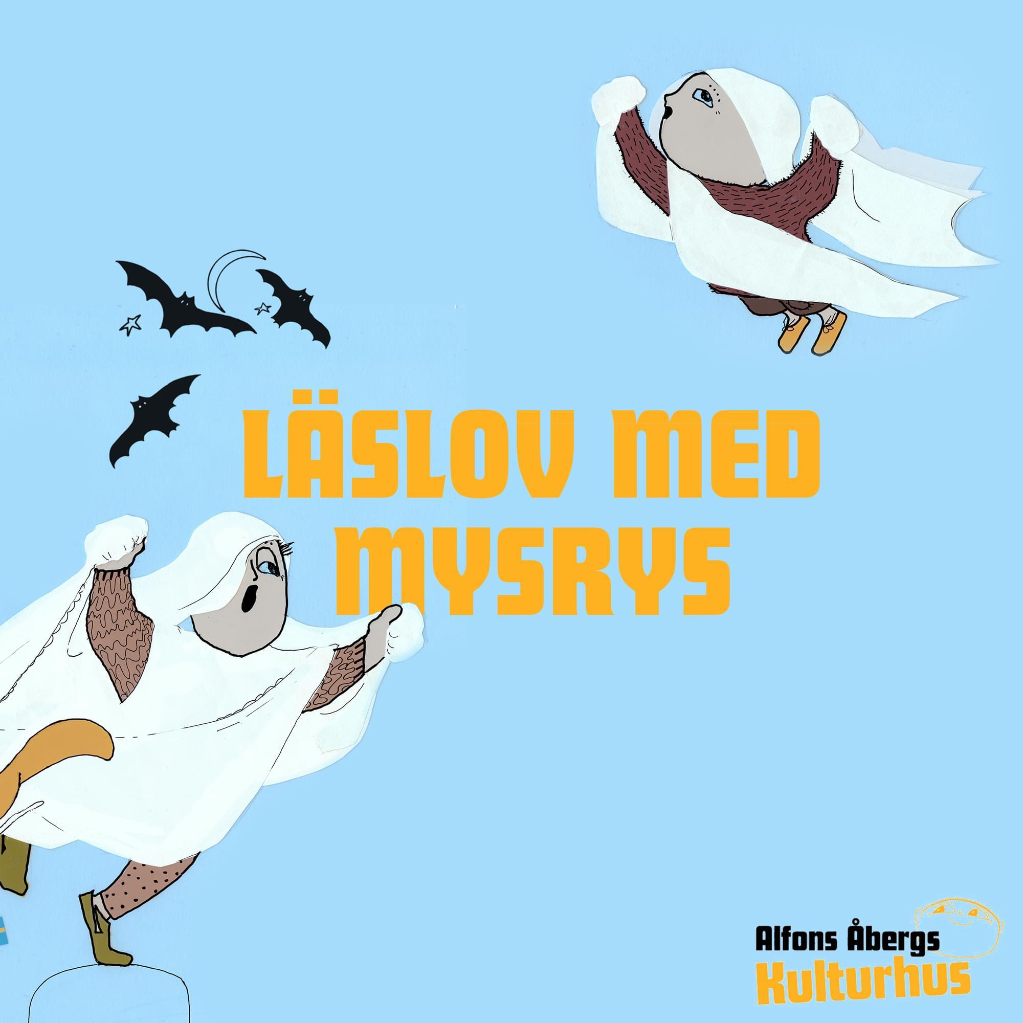 Alfons pappa och Alfons är utklädda till spöken. De ser ut att flyga i luften. Texten Läslov med MysRys syns i gult. Tre svarta fåglar flyger i luften.