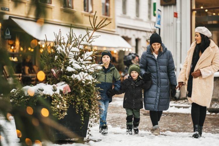 Två vuxna och två barn på promenad i ett vintrigt Göteborg.