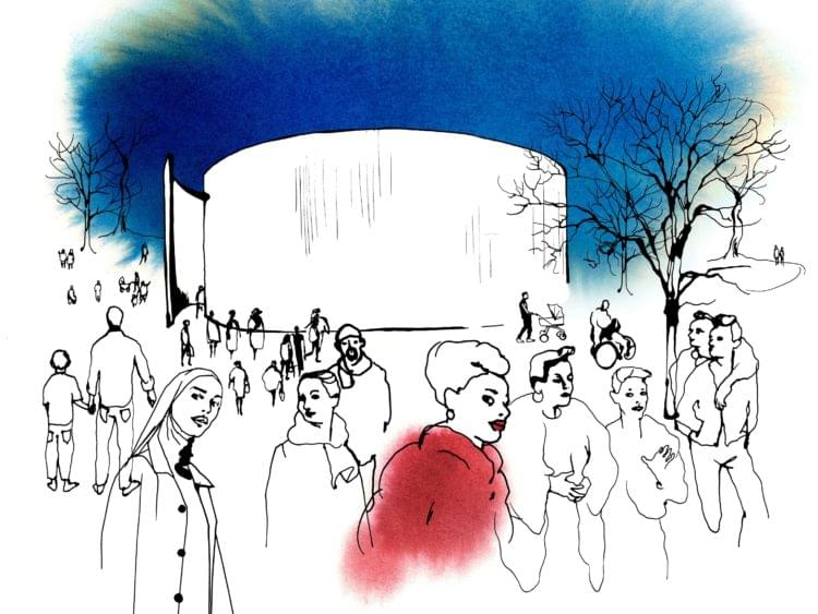 illustration of people around a 360 screen